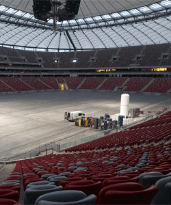 OXYMAT oxygen generator for COVID treatment at Warsaw Stadium